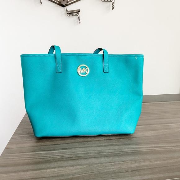 Michael Kors Large Teal Shopping Bag